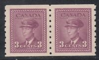"""Canada MINT OG PAIR Scott #266  3 cent rose violet """"KGVI War COIL""""  VF"""