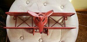 New Wall Mount Shelf Biplane Propeller Plane Distressed Metal Red Paint Art