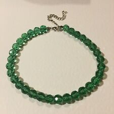 "CHUNKY FACETED MID GREEN GLASS BEAD CHOKER NECKLACE 13-17"" 33-43cm 10mm"