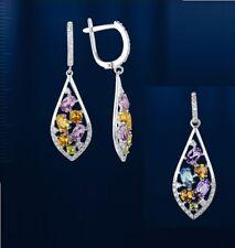 Russische Silber Set Ohrhänger und Anhänger mit Edelsteine Silber 925° Neu