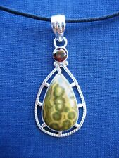 Handmade Solid 925 Sterling Silver & Ocean Jasper Garnet Pendant Necklace 925030