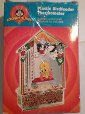 Tweety Bird & Sylvester Looney Tunes Plastic Bird feeder- Thermometer-  NEW 2001