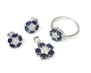 925 Sterling Silver 5x3 mm Natural Sapphire Ring Earring Pendant Jewelry Set