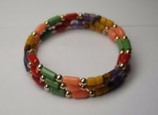 NATURAL  CORAL/TURQUOISE,AMETHYST STERLING SILVER  BYPASS  BRACELET.SIGNED