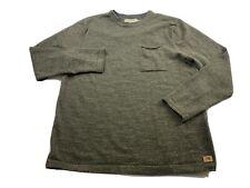 Men's Normal Brand Roll Hem Pocket Crew Long Sleeve Sweatshirt Large Green