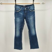 Silver Suki Mid Bootcut Jeans Beaded Flap Pockets Indigo Denim Blue Womens 27/33