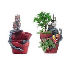 2 pezzi resina castello pianta grassa fiore letto vaso da giardino casa