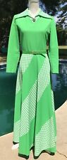 Vintage 1960's Long Lime Green Plaid Handmade Dress Mod Hippy Long Sleeve Medium