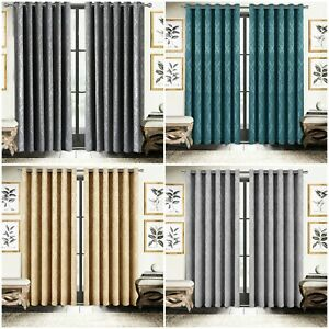 Thermal Blackout Curtains Eyelet Ready Made Embossed Curtain With Free Tie Backs