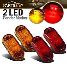 "Oval Amber Red 2 Diode LED Trailer Truck lights Clearance Side Marker Light 2.5"""