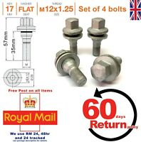 Citroen alloy wheel bolts (nuts lugs) 35mm M12 x 1.25, flat seat, set of 4