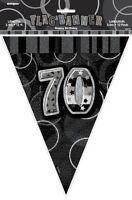 GLITZ BLACK & SILVER FLAG BANNER 70TH BIRTHDAY 3.6M/12' BIRTHDAY PLASTIC BANNER