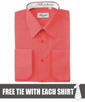 Berlioni Italy Men's Convertible Cuff Solid Dress Shirt Coral + FREE TIE