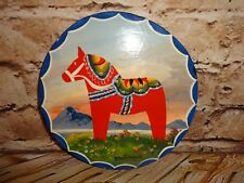 Swedish Dala Horse Red Sweden Wall Hanging Decoration Hand Painted Art 7.5""
