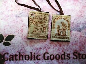 Our Lady of Mt Carmel Brown Scapular w/ Our Ladies Promise