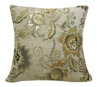 Wd36Aa Light Tan Damask Chenille Flower Throw Cushion Cover/Pillow Case Cus-Size