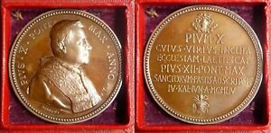 RARE 1954 Bronze Papal Medal Pius X with Original Box Holy See Coat of Arms