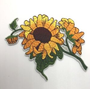 """Yellow Sunflower Patch Iron-On/Sew-On Embroidered, Big 4.5"""""""