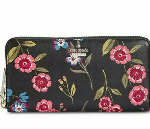 Kate Spade Wallet Leather Cameron Street Meadow Floral Black Multi Lacey $178