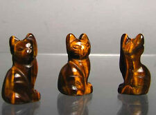 ADORABLE! 2 TIGER'S EYE Sitting Carved CAT Beads 9257TE