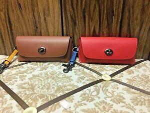 coach Sunglass Case In Colorblock Qb/Redwood Tumeric,Qb,/Miami Red Blue Jay