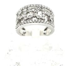 14k White Gold And Diamond Wide Band Ring. Size 7