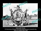 OLD LARGE HISTORIC PHOTO OF GAINESVILLE, THE FLORDIA UNIVERSITY GATOR BAND c1960
