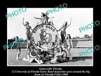 OLD LARGE HISTORIC PHOTO OF GAINESVILLE, THE FLORDIA UNIVERSITY GATOR BAND c1960