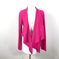 NEW Eileen Fisher Small Open Front Rhuba Cascading Jacket Pink Linen Stretch B37