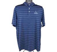 KJUS Mens Size Large 52 Short Sleeve Navy Blue Striped Polo Shirt Half Moon Bay