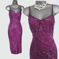 KAREN MILLEN UK 10 Pink Heavily Embellished Straps Pencil Cocktail Party Dress