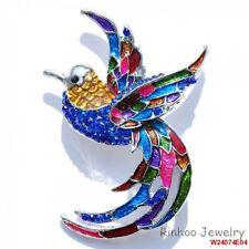 Fashion Artistic Rhinestone Blue Bird Brooch Pins Crystal White Gold Plated Hot