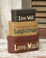 "3 PC NESTING BOXES LIVE WELL LAUGH OFTEN LOVE MUCH LARGEST 15 1/4"" LONG"