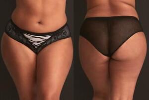 New 3X 22/24 Sexy Torrid Black/Gray Lace Up Microfiber Hipster Panty Panties