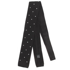 NEW KITON Woven Square Tip Black White Polka Dot Mens Silk Neck Tie NWT Sharp!