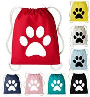 Paw Print Cotton Drawstring PE Bags Gym Kit Swimming School P.E Sports Kids Bag