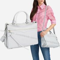 NWT ❄️ $348 Rebecca Minkoff Bedford Zip Leather Satchel Silver Hardware Ice Grey
