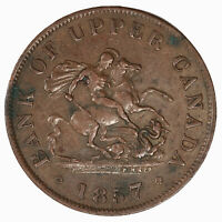 Raw 1857 Bank Of Upper Canada 1/2 Penny Bank Token