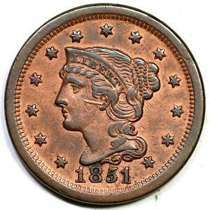1851/81 N-3 Braided Hair Large Cent Coin 1c