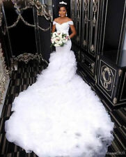 Luxury Cathedral Train Mermaid Wedding Dresses Lace Beaded African Bridal Gown