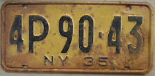 1935 NEW YORK LICENSE PLATE  # 4P 90-43