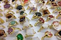 Hot 5Ps Mixed Lots Gold Plated Natural gemstone wedding Rings Wholesale