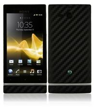 Skinomi Carbon Fiber Black Cover+Screen Protector for Sony Ericsson Xperia U