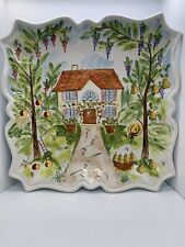 "Ma Maison by Tabletops Unlimited 13"" Square Serving Tray Plate Hand painted"