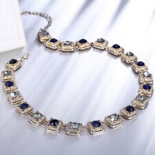18K Gold Plated Blue Clear With Pave Zircon Crystal Necklace