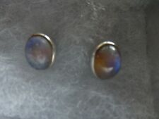 Sterling Silver Oval Moonstone Stud Earrings