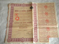 Vintage share certificate Stocks Bonds Mines Du Djebel Salrhef Mining 1929 maroc