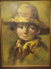 Salvador Cabrera Filipino O/C Painting 1973 Big Eyed Boy with 24x30 Frame