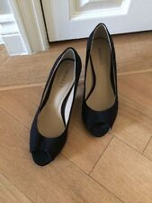 PROFILE BLACK PEEP TOE Ladies Steel Heel  SHOES UK 5