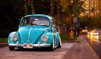 Classic VW Beetle - Blue Car City Landscape Art Large Poster / Canvas Pictures